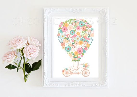 Digital Print Art Fl Hot Air Balloon Vintage Bike Nursery Or Living Pink 8x10 Design 038