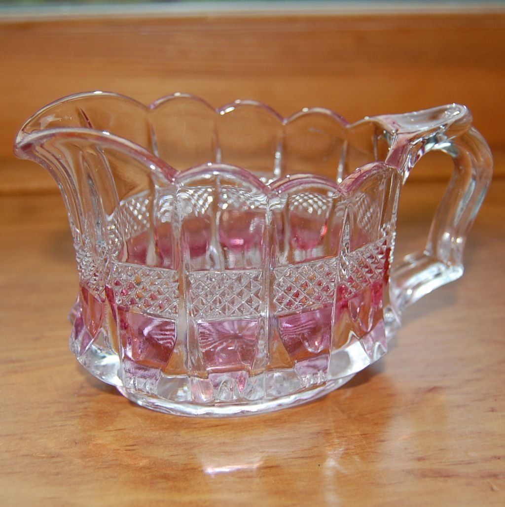 Pressed Glass Creamer with Pink Accents
