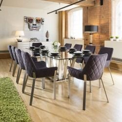 1f0ae623f245 Massive Modern Dining Set Glass Table +10 Dark Grey Chairs 2.4mt New ...