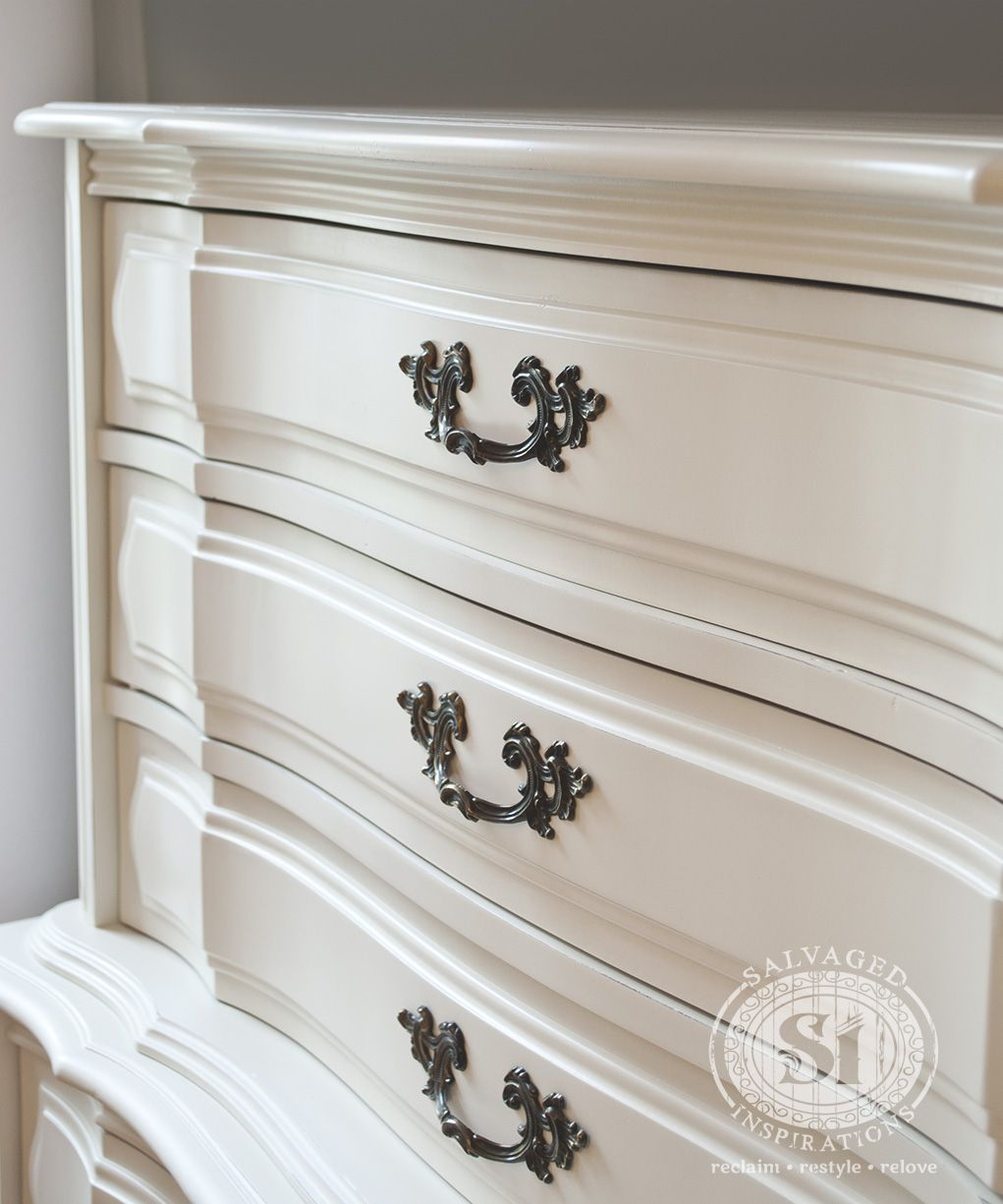 Clic French Dresser Restyled In Generalfinishes Antique White Milk Paint Provides An Immaculate Finish When Sprayed