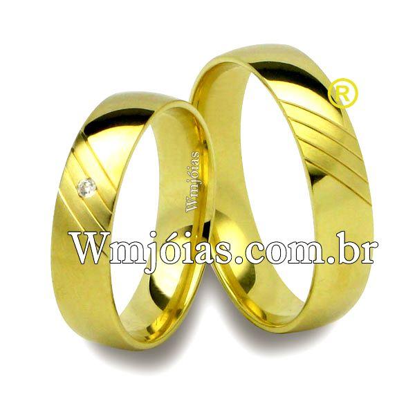 Aliança de noivado e casamento  Aliança em ouro amarelo 18k 750  Peso: 7 gramas o par  http://www.wmjoias.com.br/