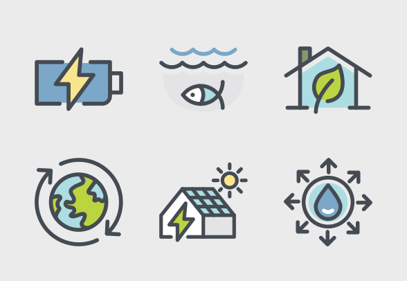 Green Energy Ecology Colours Icons By Bomsymbols Green Energy Energy 3d Printed Metal