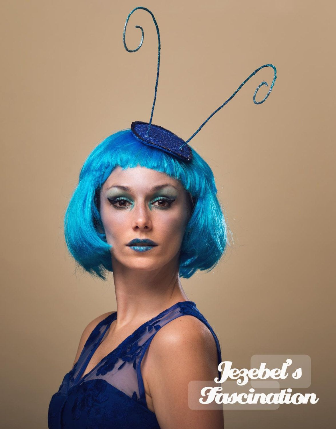 Absolem-Wonderland Caterpillar Antenna Fascinator Blue Glitter Bug ...