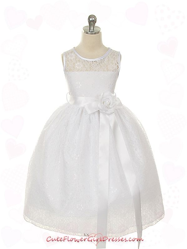 White High Quality Lace with Satin Ribbon Girl Dress $38.99.  Can choose color of sash.