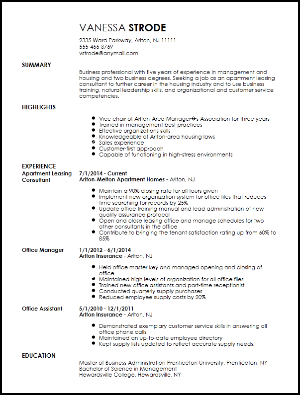 Traditional Apartment Leasing Consultant Resume Template Resumenow Agent Samples Sample