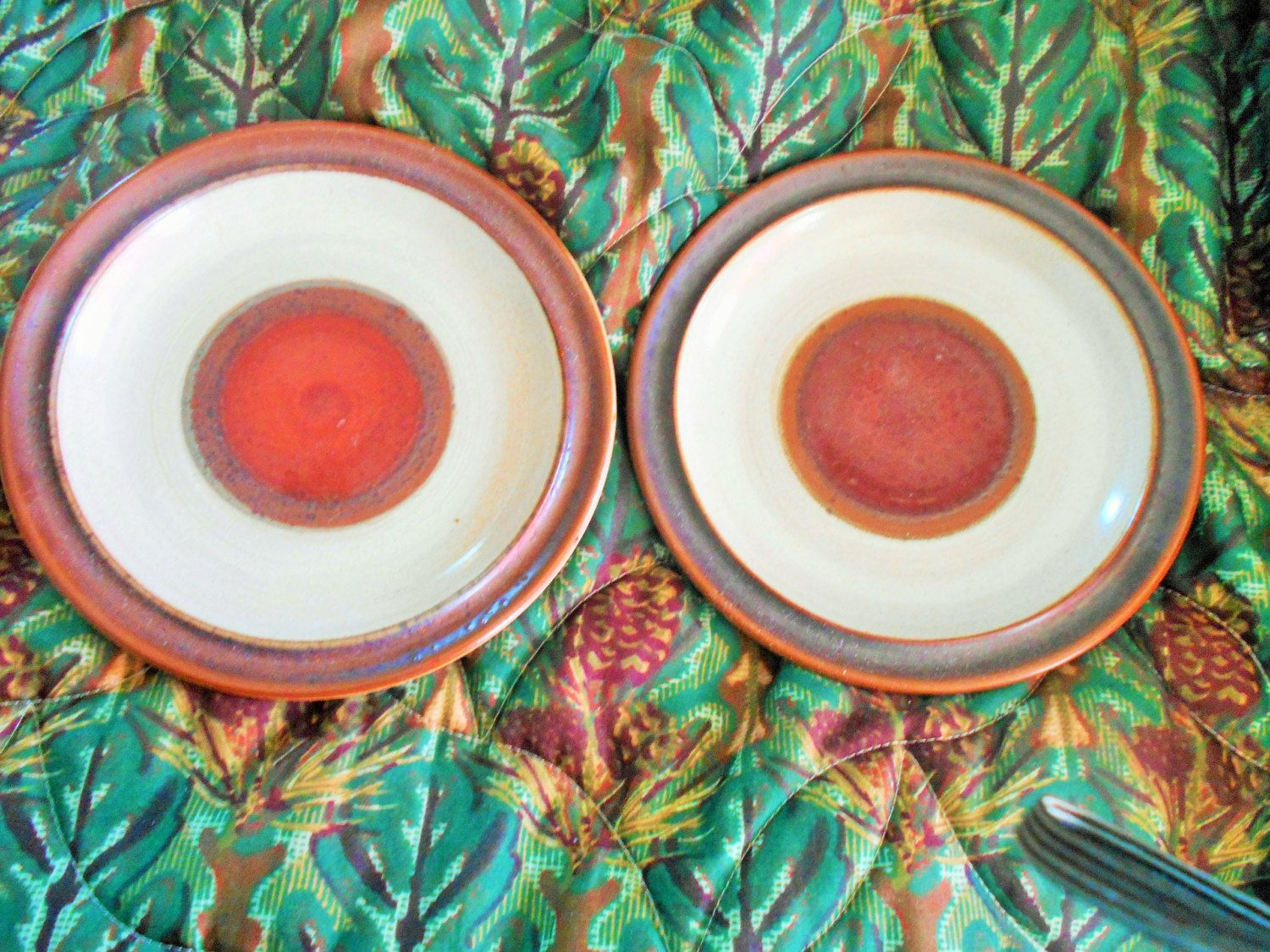 Vintage Denby Potters Wheel Lunch Salad Plates. Stoneware Potteryset of 2 by VintageVarietyFinds & Vintage Denby Potters Wheel Lunch Salad Plates. Stoneware Pottery ...