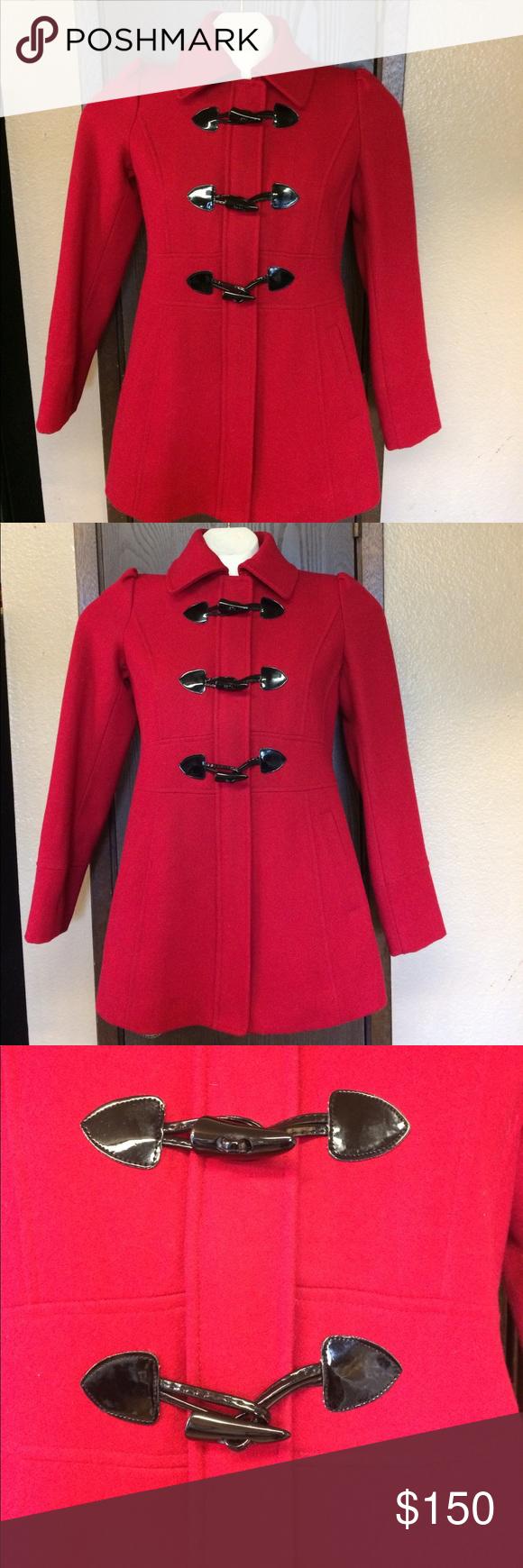 Nwot Guess Red Wool Pea Coat Black Toggle Buttons Wool Peacoat Black Coat Red Peacoat [ 1740 x 580 Pixel ]