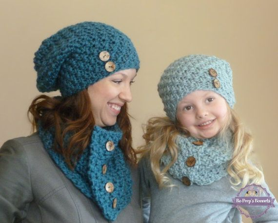 Thick Hats and Scarves Real Pom Pom Set for Mother s Girls Boys Beanie Knitted Cap,Navy,