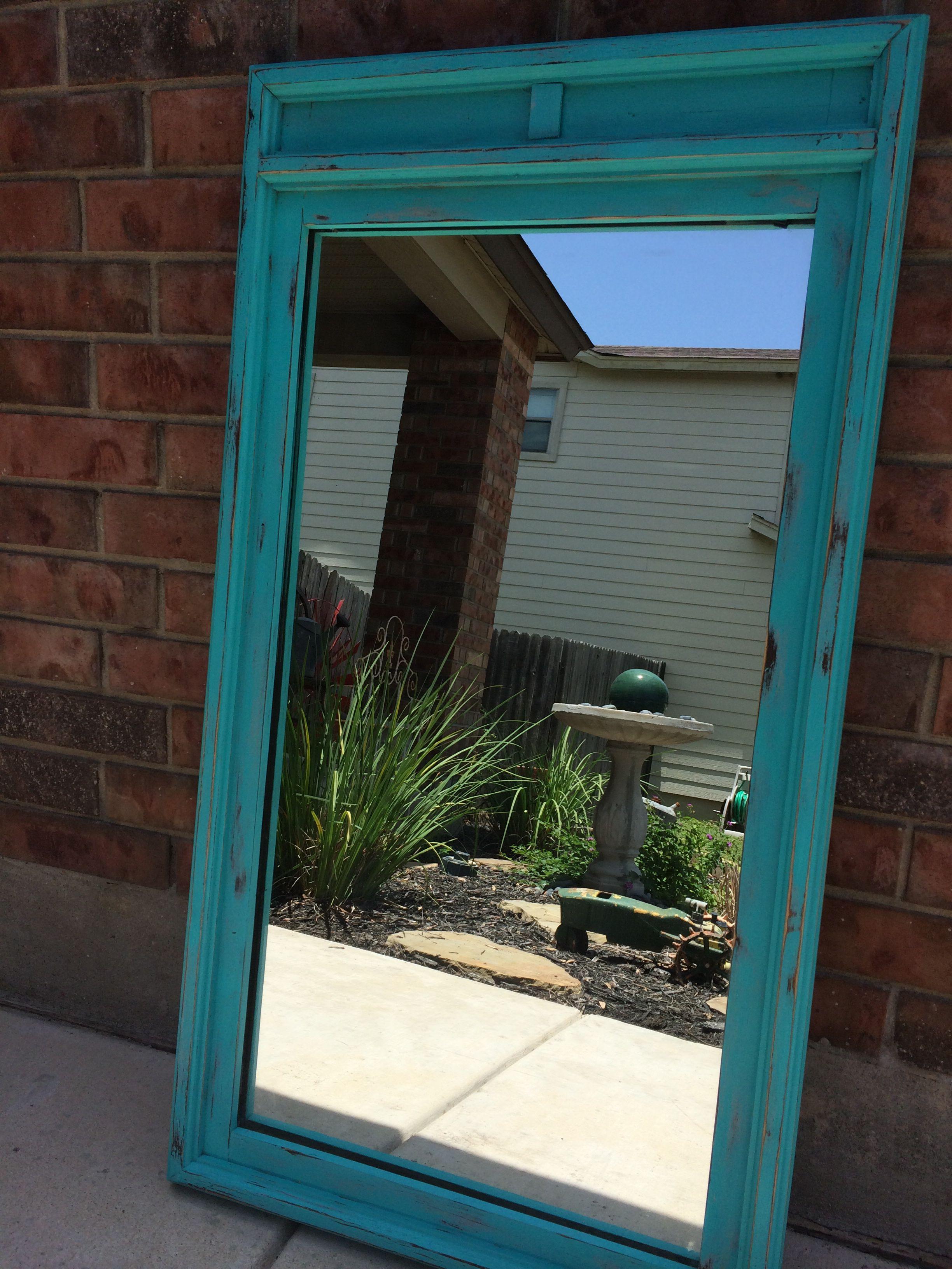Aqua distressed mirror distressed paintedfurniture diy
