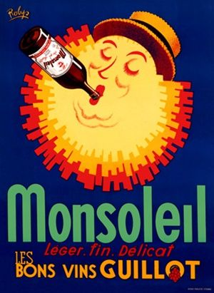 Monsoleil Vin By Robys 1950 France Beautiful Vintage Poster Reproduction This Vertical French Wine And Spirits Pos Vintage Posters Wine Poster Poster Prints