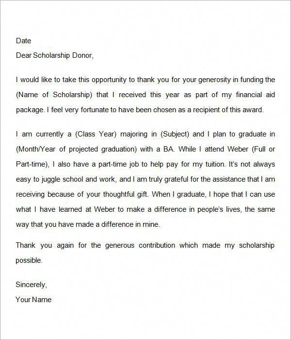 sample thank you letter for scholarship - Google Search