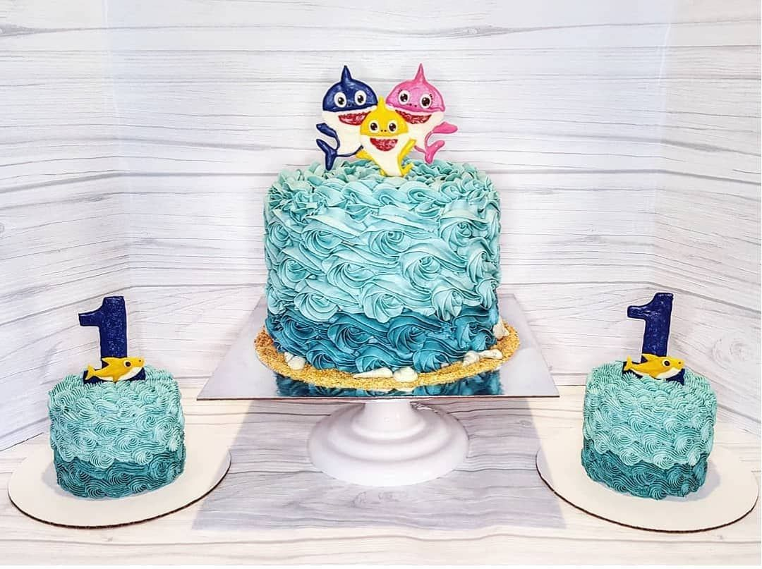 Baby Shark Cake And Smash Cakes With Diy Chocolate Toppers And