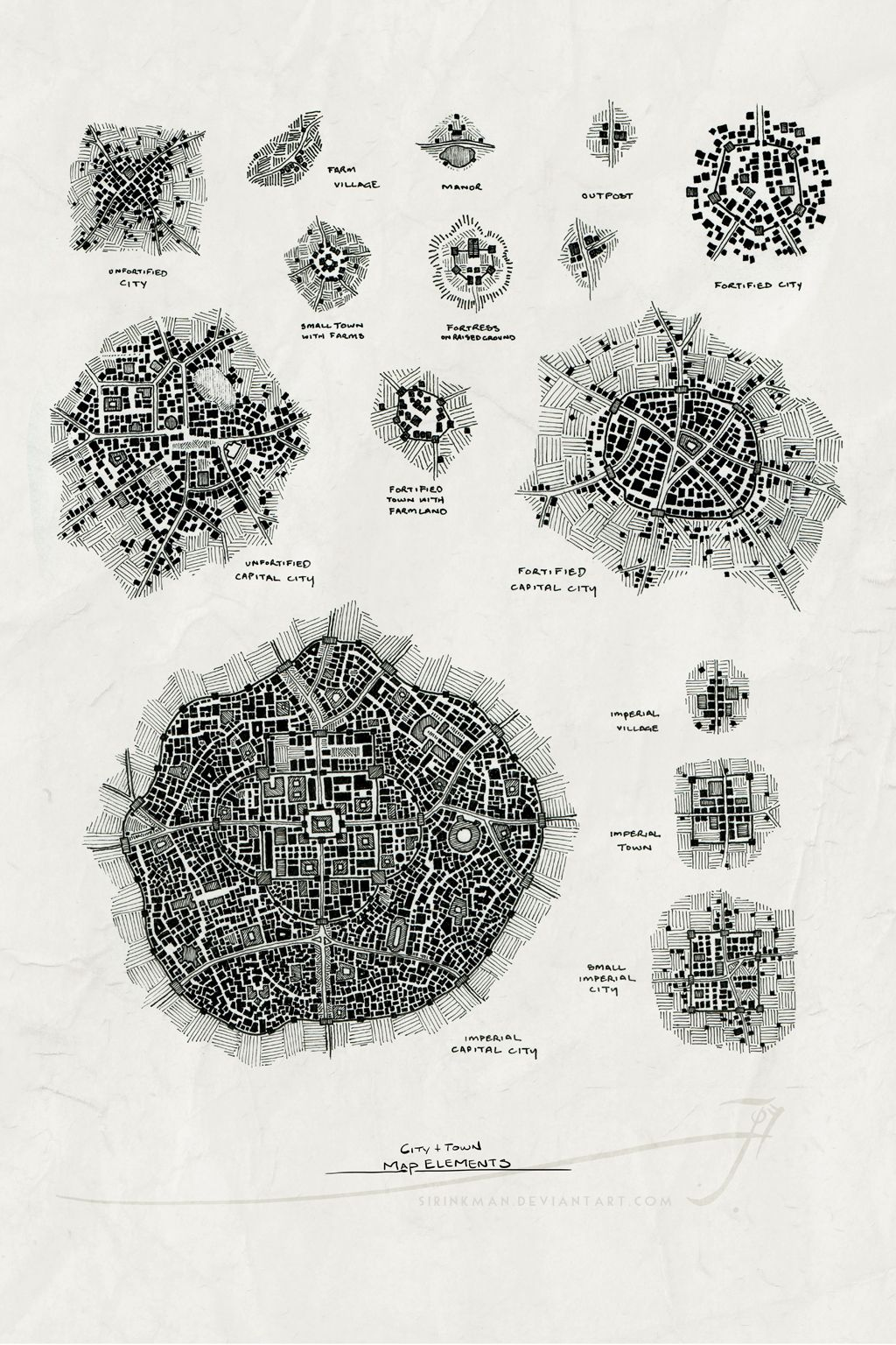 Map Elements 01b LO city town castle map cartography ...
