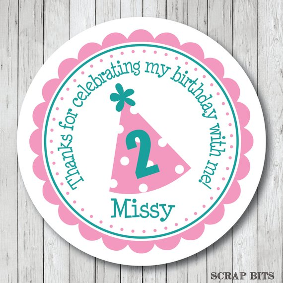 Birthday Party Hat Stickers Personalized Tags