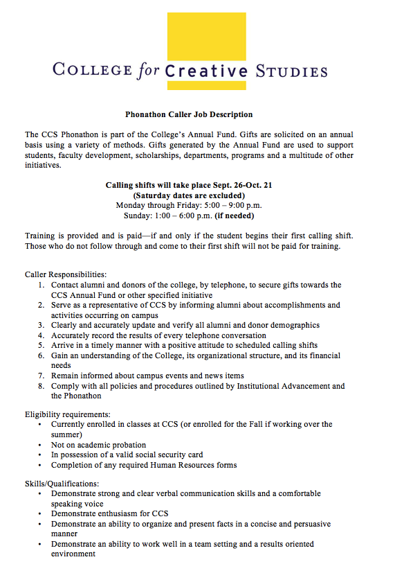 Phonathon Caller Job Description The Ccs Phonathon Is Part Of The