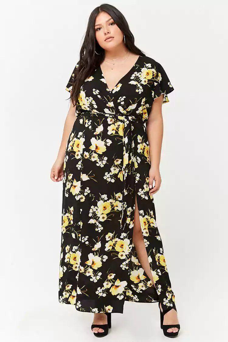 53d7e501dc0 Product Name:Plus Size Floral Surplice M-Slit Maxi Dress, Category ...