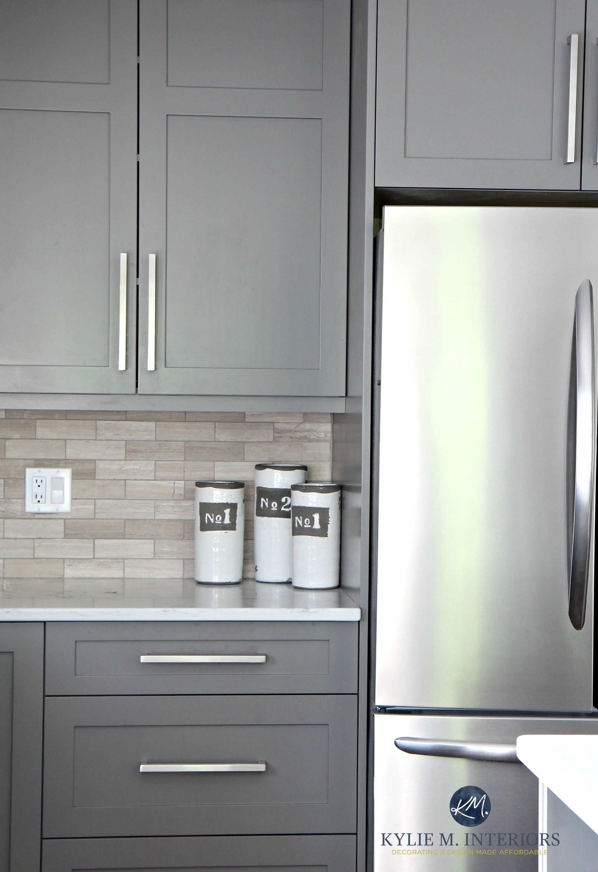 Benjamin Moore Amherst Gray painted cabinets driftwood backspash in subway tile layout Kylie M