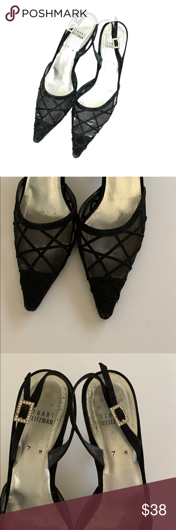 b68756c0f11 Stuart Weitzman Slingback Heels Slingback with mesh front and rhinestone  hardware. Great for holiday parties. Sleek and elegant. In good used  condition.
