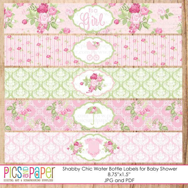 Shabby Chic Water Bottle Labels For A Baby Shower   Baby Shower