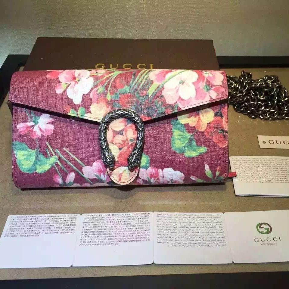 63349693049 Gucci Dionysus Blooms Print Chain Shoulder Wallet 404141 Red 2016 ...
