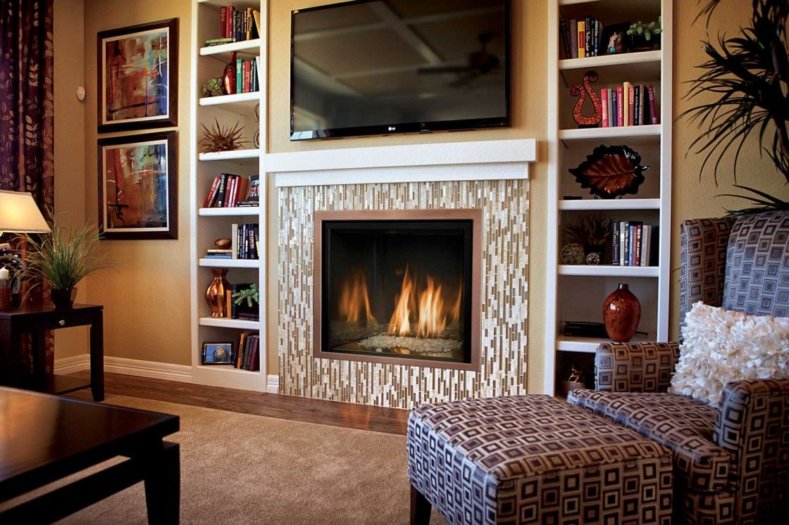 Charming gas electric fireplace surround with beautiful glass tiles