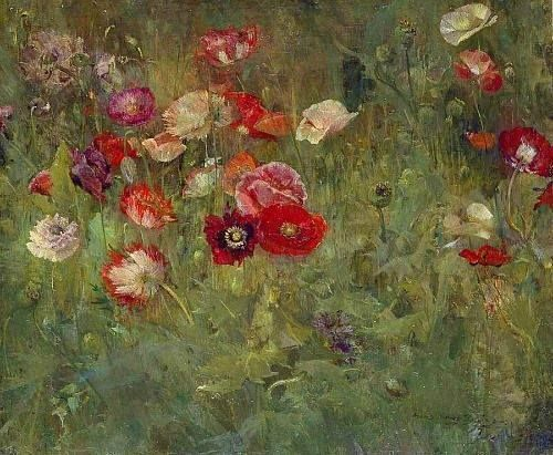 Maria Oakey Dewing, A Bed of Poppies, 1909, Addison Gallery of American Art, Andover, Massachusetts. Maria Oakey Dewing (1845–1927) was an American painter known for her depiction of flowers. Her work was inspired by John La Farge and her love of gardening. She also made figure drawings and was a founding member of the Art Students League of New York. Dewing won bronze medals for two of her works at world expositions. She was married to artist Thomas Dewing. [Wikipedia]