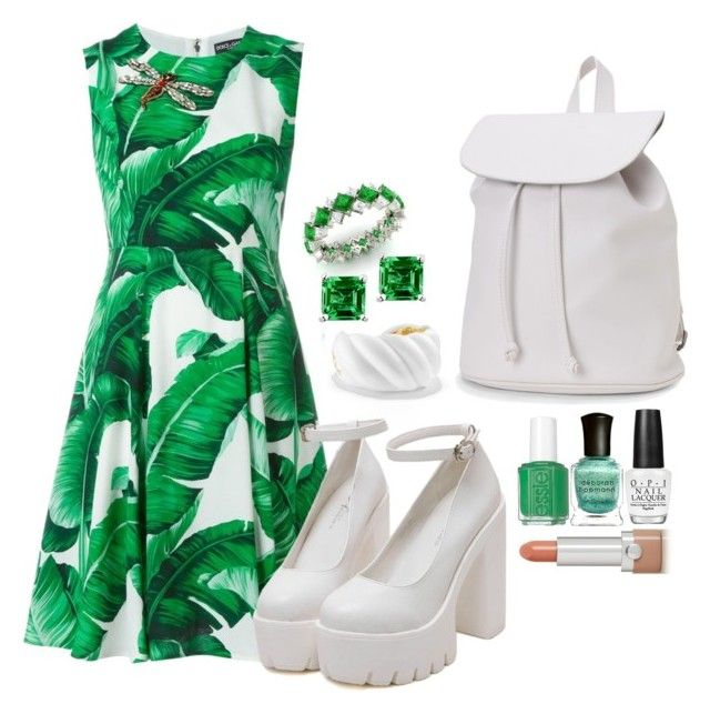 """Untitled #27"" by jiofalcon ❤ liked on Polyvore featuring Diamondere, Glitzy Rocks, David Yurman, Dolce&Gabbana, Deborah Lippmann, Aéropostale, Marc Jacobs, OPI, white and GREEN"