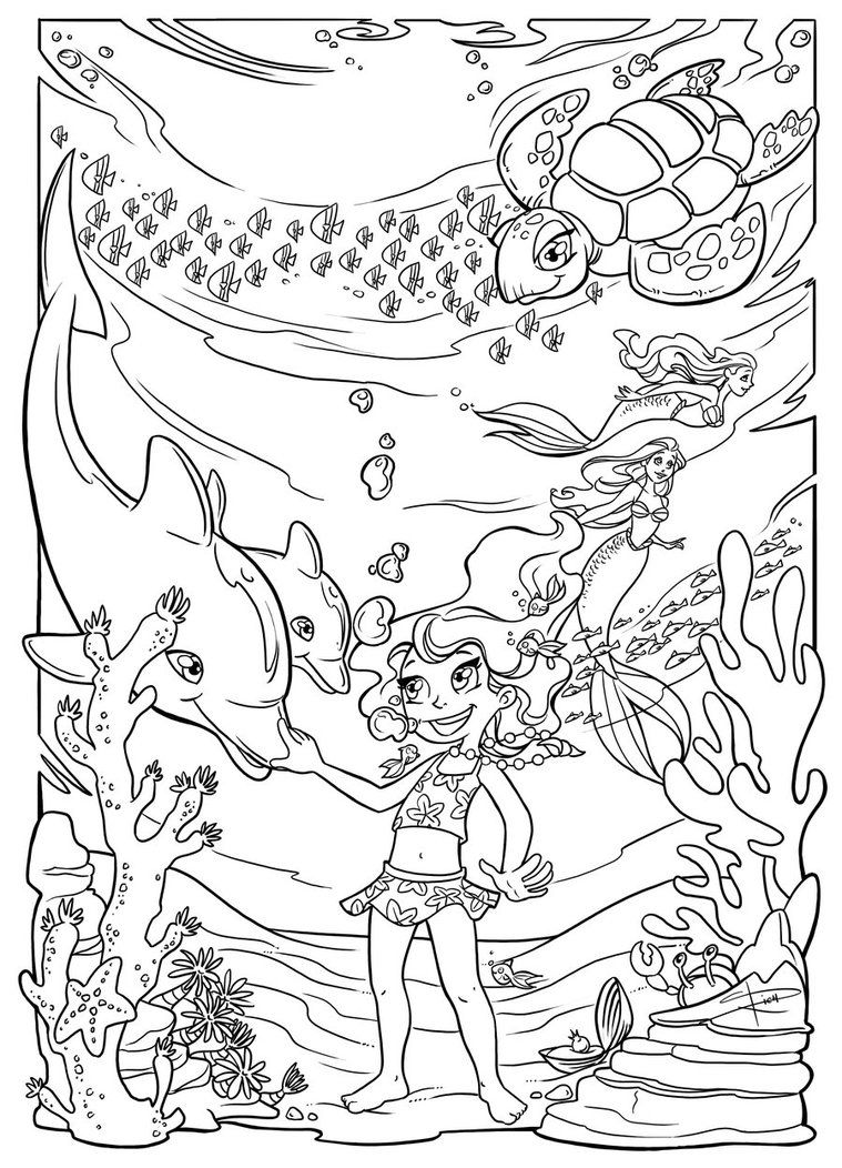 Underwater Fun Coloring Page By Sabinerich