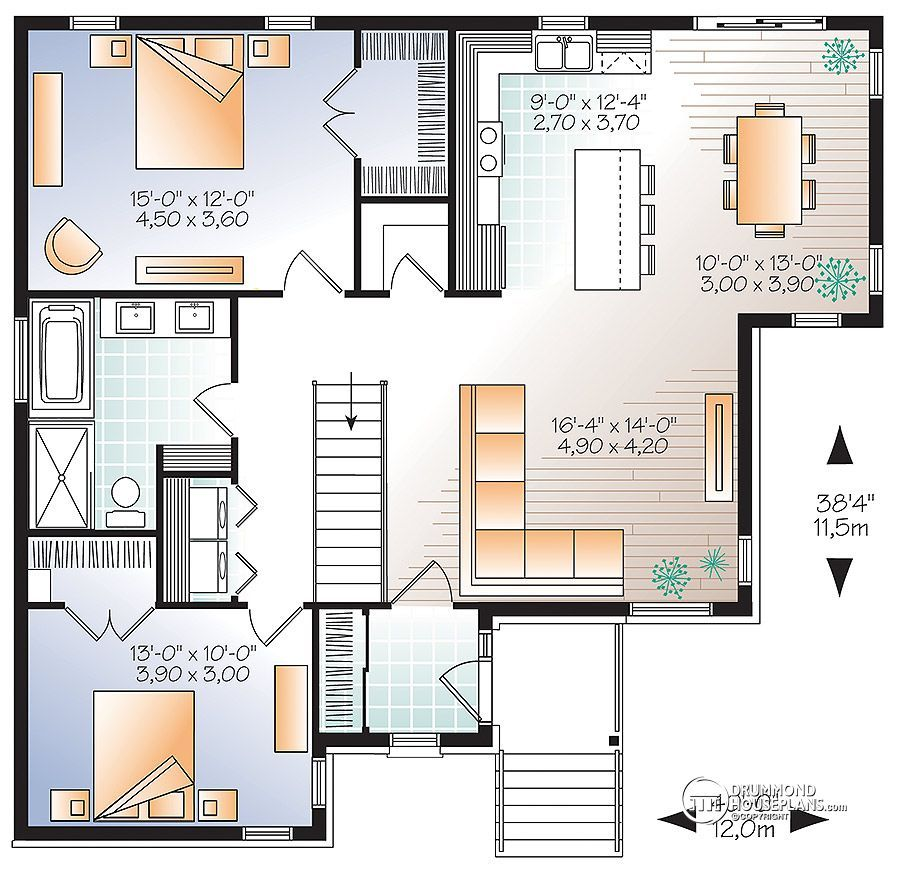 plano de casa moderna de 2 dormitorios planos