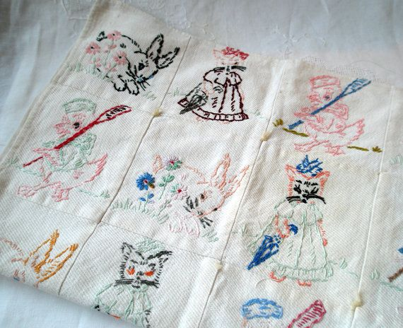 Vintage Baby Quilt With Cute Hand Embroidered Blocks Vintage
