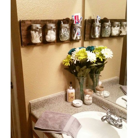 Your Place To Buy And Sell All Things Handmade Bathroom Organisation Mason Jar Shelf Diy Bathroom Storage