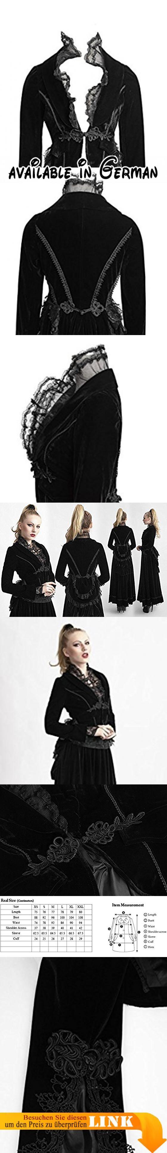 Schwarze Jacke aus Samt mit Spitze elegant Viktorianischer Gothic Punk Rave Gr. x-large, Schwarz - Schwarz.  #Apparel #OUTERWEAR
