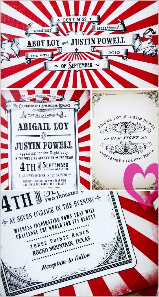 Circus wedding invitation   Circus / Carnival Party   Pinterest ...