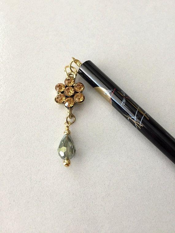 Hair Stick Golden Flower Beaded Chopstick Accessory Bun Holder Up Do Gold Black Silver