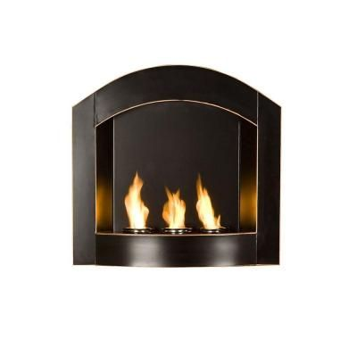 Southern Enterprises Arch 27 In Wall Mount Gel Fuel Fireplace In Matte Black With Copper Distressing Fa5807 The Home Depot Wall Mounted Fireplace Wall Mount Fireplace Mounted Fireplace