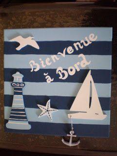 Tableau d co th me marin sujet en bois peinture acrylique sur toile en coton le coin du - Decoration theme mer a faire soi meme ...