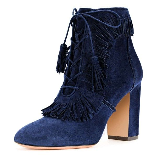 9b9057b3eda Blue Suede Chunky Heel Lace Up Tassel Fringe Boots for Party