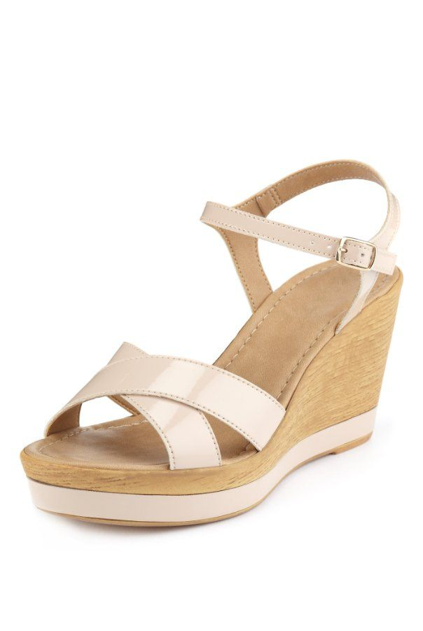 Open Toe Crossover Strap Wedge Sandals - Marks & Spencer
