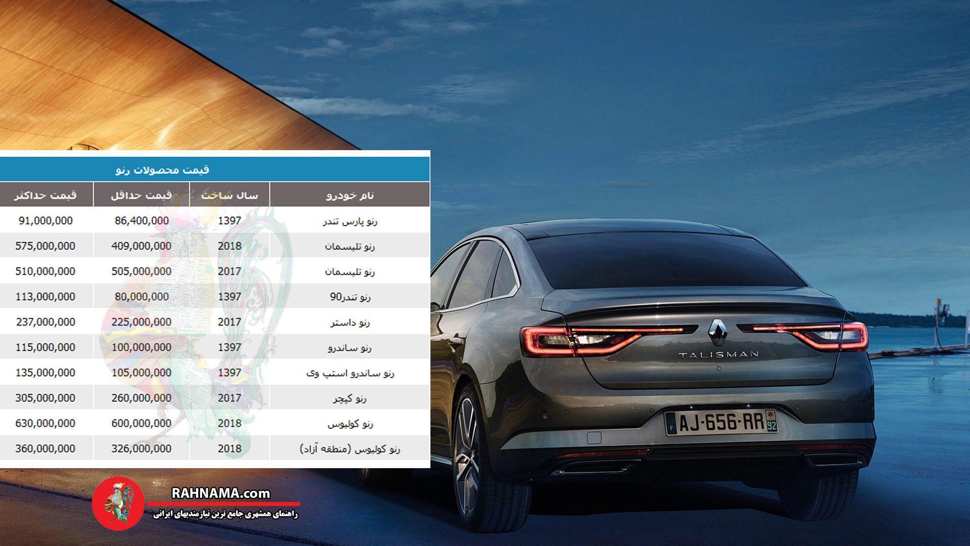 قیمت روز انواع خودروهای محصولات رنو 5 آذرماه
