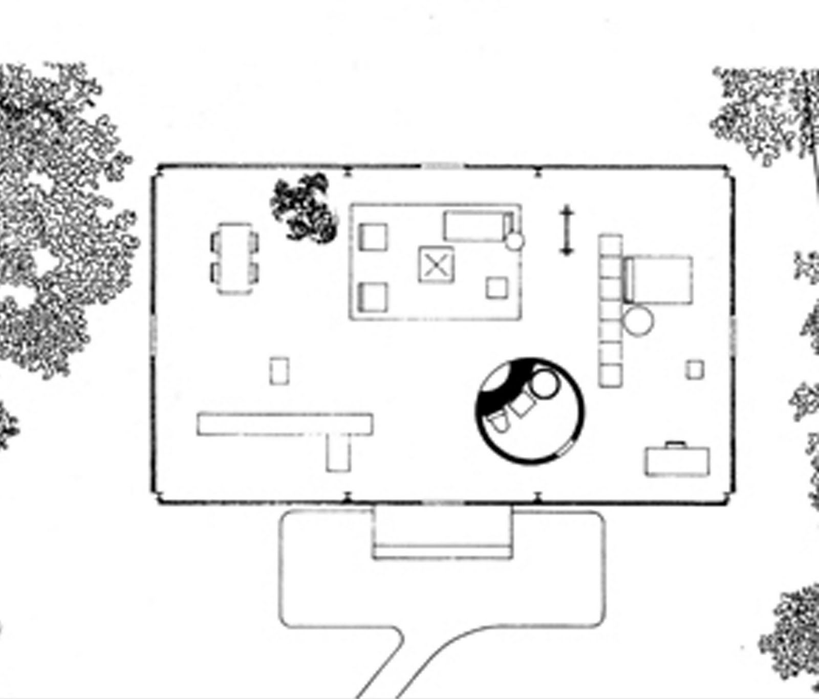 Philip johnson glass house floor plan