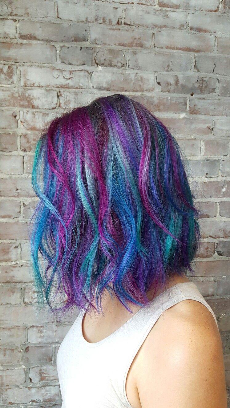 Mermaid hair! Teal pink blue purple hair Bob haircut cut ...