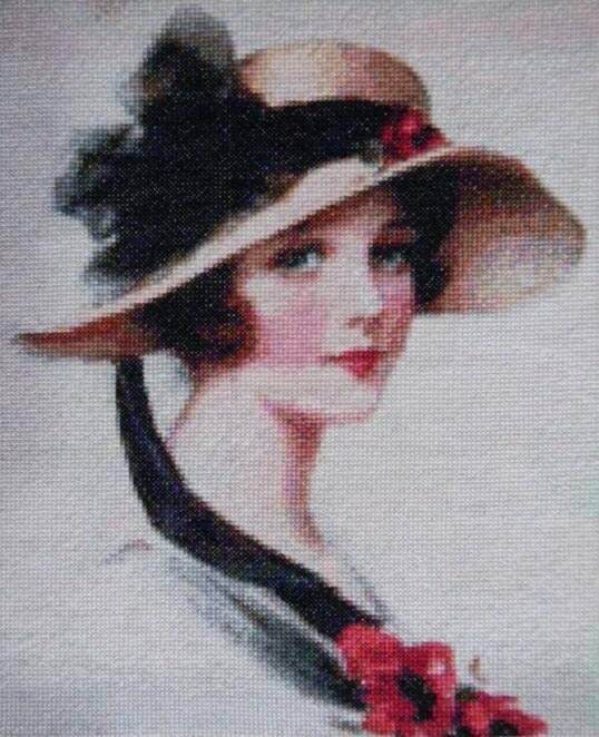 Lovely lady cross stitch... Have this Machine embroidery.