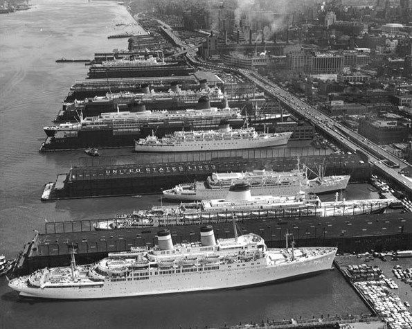 The Liners in New York July 1963 (from top to bottom): SS Brasil – Moore McCormack Line; SS Hanseatic – Hamburg-Atlantik Line; RMS Queen Mary – Cunard-White Star Line; SS France – French Line; SS Olympia – Greek Line; SS Atlantic – American Export Line; SS Leonardo DaVinci – Italian Line; SS Independence – American Export Line.