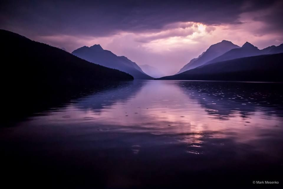 Bowman Lake, Western Montana during a lightning storm.  photo by Gary Mesenko
