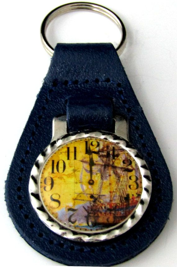 Clock Face Vintage Blue Stripe Ship Blue Leather Key Fob Steel Ring FOB-0148