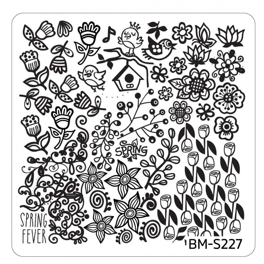 Spring Themed Nail Art Stamping Plates Occasions Collection Bm
