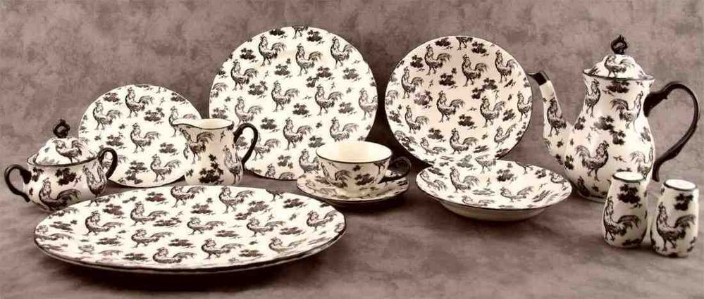 BLACK U0026 WHITE FRENCH COUNTRY TOILE DINNER SET FOR 8 W/ COMPLETER SERVING SET