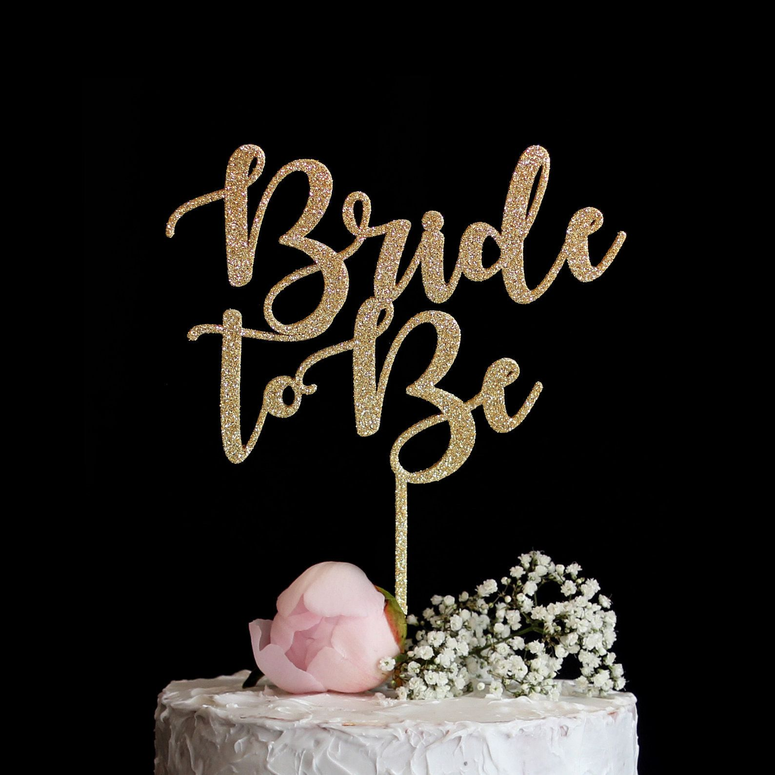 1XBride To Be glitter Gold Cake Topper Cupcake Pick Hen Night Party Cake FO