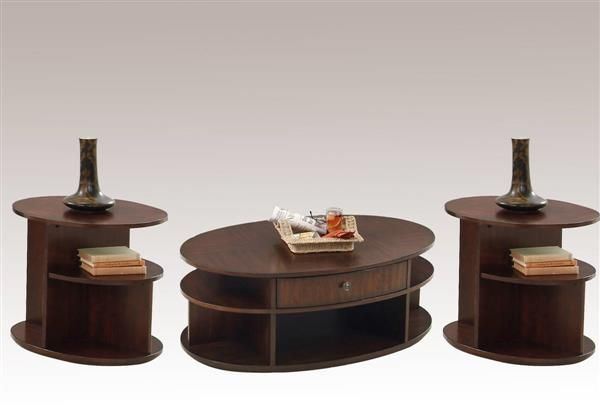Metropolian Cherry Wood Oval Castered Lift Top 3pc Coffee Table Set