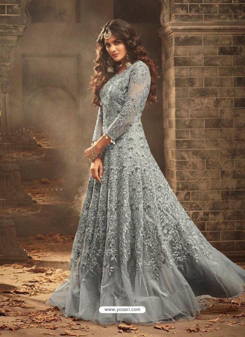 f150b5941b0 Grey Net Heavy Embroidered Designer Anarkali Suit